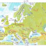 Mapa de Europa físico y accidentes geográficos para 1º de ESO