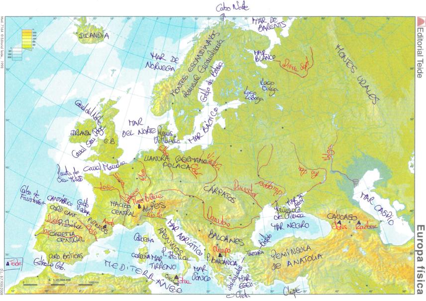 1ESO  Mapa de Europa fsico y accidentes geogrficos para 1 de ESO